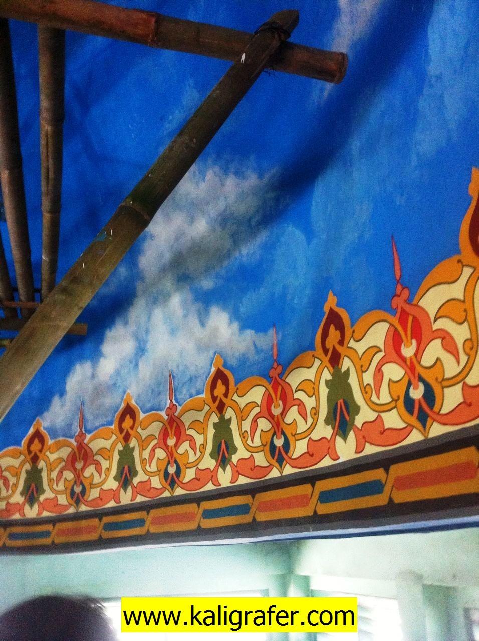 lukisan awan kubah dan ornamen kubah masjid